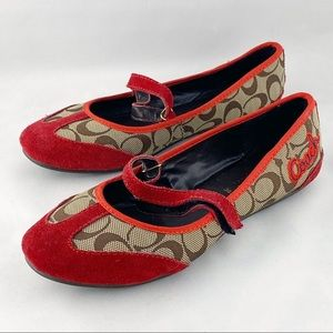• Coach Red Signature Suede Red Flats Shoes •
